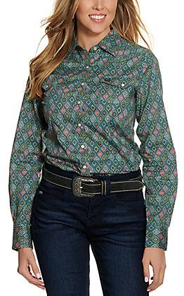Cinch Women's Turquoise Geo Print Long Sleeve Western Shirt