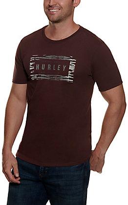 Hurley Men's Mahogany and Grey Jungle Logo Short Sleeve Shirt