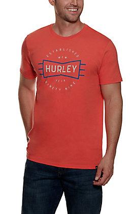 Hurley Men's Orange Logo Short Sleeve Shirt