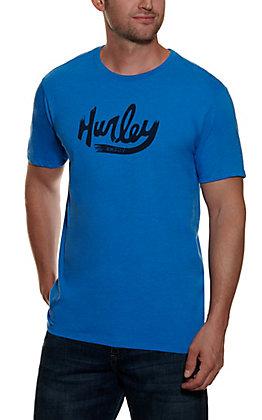 Hurley Men's Blue Heather and Black Logo Short Sleeve Logo T-Shirt