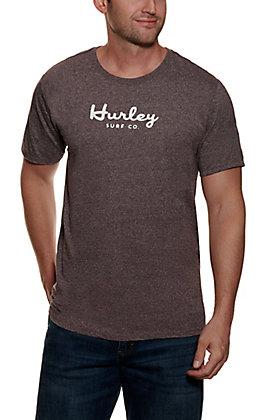 Hurley Men's Mahogany Logo Script Short Sleeve T-Shirt
