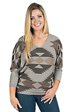 Karlie Women's Grey and Gold Aztec Top