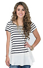 PPLA Women's White & Navy Stripe Swing Tee