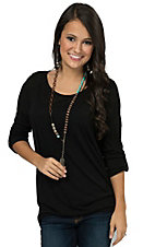 Moa Moa Women's Black 3/4 Tab Sleeve Top