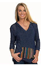 Moa Moa Women's Denim Knit with Baha Patch Long Sleeve Hooded Top