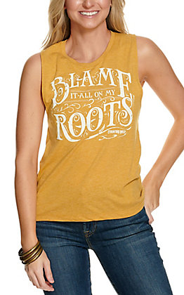 Country Deep Mustard Blame It All On My Roots Sleeveless Tank Top