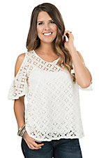 Moa Moa Women's Ivory Lace Cold Shoulder Short Sleeve Fashion Top