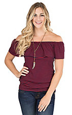 Moa Moa Women's Navy and Red Stipe with Ruffled Top Short Sleeve Off the Shoulder Fashion Top