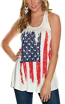 Moa Moa Women's White Stars and Stripes Flag Tank Top
