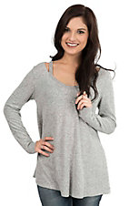Moa Moa Women's Grey with Slit Shoulders Long Sleeve Casual Knit Top