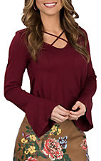 Moa Moa Women's Maroon Criss Cross Long Sleeve Casual Knit Shirt