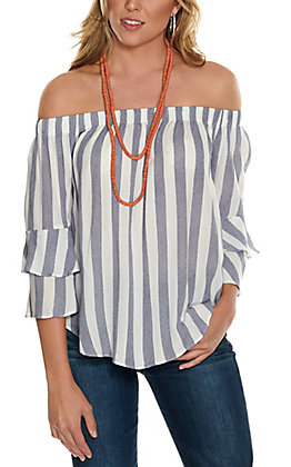 Moa Moa Women's Navy and White Stripes Off the Shoulder Ruffle Sleeve Fashion Top