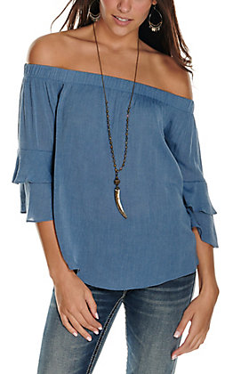 Moa Moa Women's Light Denim Off the Shoulder with 3/4 Ruffle Sleeves Fashion Top