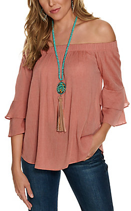 Moa Moa Women's Rust Off the Shoulder Ruffle Sleeve Fashion Top