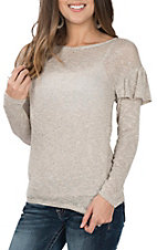 Moa Moa Women's Oatmeal and Grey Ruffle Sleeve Casual Knit Shirt