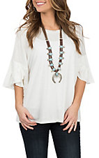 Moa Moa Women's White Ruffle Bell Sleeve Casual Knit Shirt