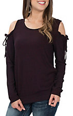 Moa Moa Women's Black and Wine Cold Shoulder Long Sleeve Fashion Shirt
