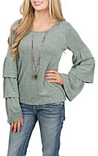 Moa Moa Women's Mint and Black Long Ruffle Sleeve Casual Knit Shirt