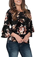 Moa Moa Women's Black Velvet Floral Ruffle Sleeve Fashion Shirt