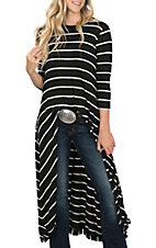 Moa Moa Women's Black and Cream Striped Hi/Lo Solid Fashion Top