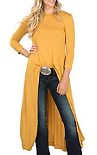 Moa Moa Women's Mustard Hi/Lo Solid Fashion Top
