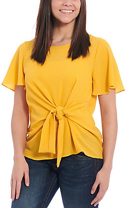 Moa Moa Women's Gold Tie Front Short Sleeve Fashion Top