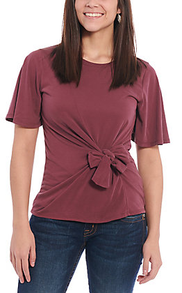 Moa Moa Women's Wine Tie Front Fashion Top