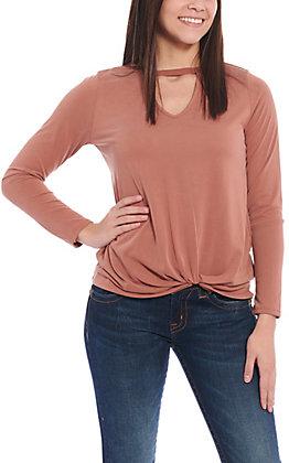 Moa Moa Women's Cinnamon Knotted Long Sleeve Fashion Top