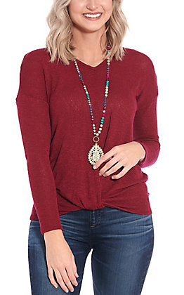 Moa Moa Women's Burgundy Knotted Fashion Top