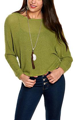Moa Moa Women's Moss Green Waffle Knit Long Dolman Sleeve Top