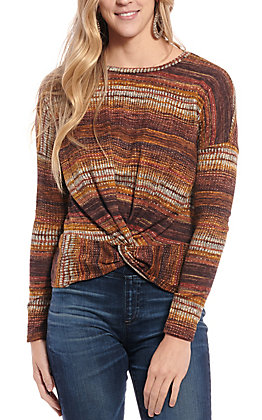 Moa Moa Women's Rust Multi Striped Knotted Front Fashion Top
