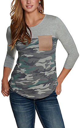 Moa Moa Women's Grey and Camo with Suede Pocket Long Sleeve Tee