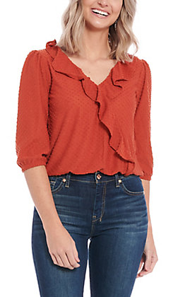 Moa Moa Women's Rust Dotted Ruffle Fashion Top