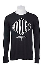 Hurley Men's Black with White Diamond Embroidered Logo Long Sleeve Thermal Shirt