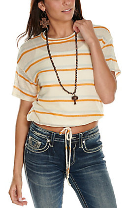 Moa Moa Women's White with Orange and Grey Stripes Tie Front Short Sleeve Fashion Top