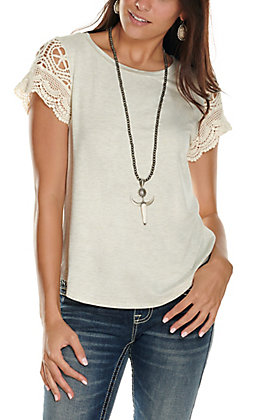 Moa Moa Women's Oatmeal with Lace Short Sleeves Casual Knit Top