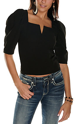 Moa Moa Women's Black V-Neck 3/4 Puff Sleeves Fashion Top