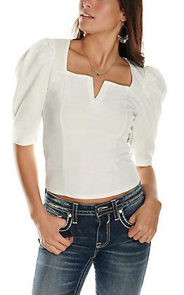 Moa Moa Women's Ivory V-Neck 3/4 Puff Sleeves Fashion Top