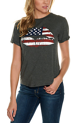 Moa Moa Women's Charcoal Grey American Flag Lips Short Sleeve Tee
