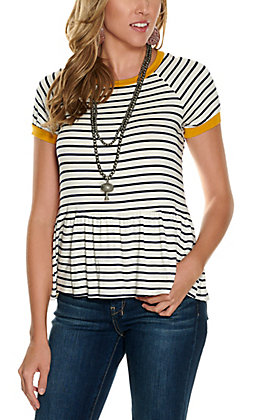 Moa Moa Women's Ivory with Navy Stripes and Mustard Trim Peplum Short Sleeve Fashion Top