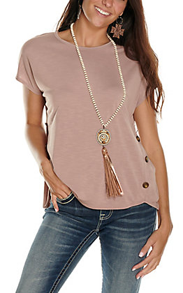 Moa Moa Women's Antique Rose with Button Short Sleeve Fashion Top
