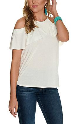 Moa Moa Women's Ivory Cold Shoulder Ruffle Cap Sleeve Fashion Top