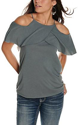 Moa Moa Women's Grey Cold Shoulder Ruffle Cap Sleeve Fashion Top