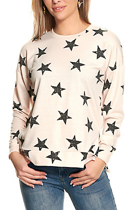 Moa Moa Women's Cream with Black Stars Long Sleeve Top