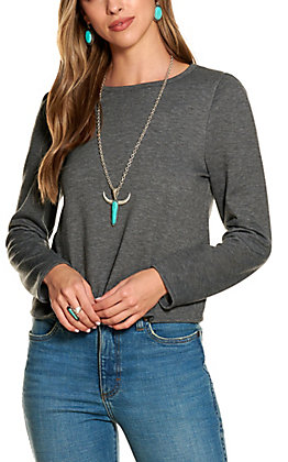 Moa Moa Women's Heather Charcoal French Terry Long Sleeve Tee