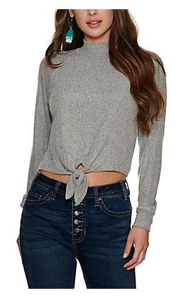 Moa Moa Women's Heather Grey Rib Knit Mock Turtleneck Long Sleeve Top