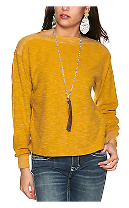 Moa Moa Women's Mustard Light Fleece Knit Long Sleeve Top
