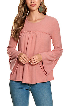 Moa Moa Women's Mauve Tiered Long Bell Sleeve Top