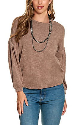 Moa Moa Women's Taupe Stripe Long Sleeve Top
