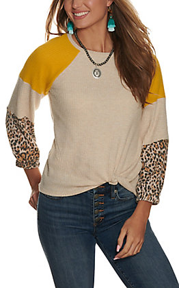 Moa Moa Women's Oatmeal, Gold and Cheetah Print Long Sleeve Top